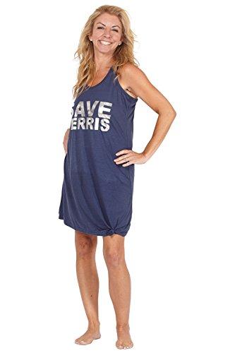 Ferris Bueller 'Save Ferris' Racerback Pajama Nightgown, Navy, X-Small ()
