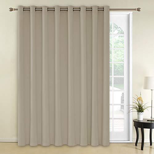 Deconovo Solid Grommet Blackout Curtains 1 Panel Wide Width Curtain Window Coverings Thermal Insulated Light Blocking Curtains for Patio Door 100W x 84L Inch Beige ()