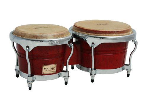 Tycoon Percussion 7 Inch & 8 1/2 Inch Concerto Series Bongos - Red Finish ()