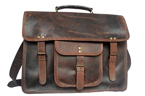 Rustic Town Leather Vintage Crossbody Messenger Courier Bag Gift Men Women Business Work Briefcase ~ Carry Laptop Computer Books ~ Handmade Rugged & Distressed ~ Everyday Office College School 15 Inch