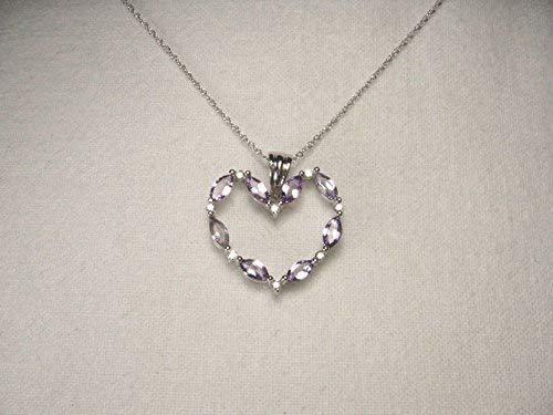 Beautiful Estate 14K White Gold Tanzanite Diamond Heart Pendant - Gold Pendant Estate