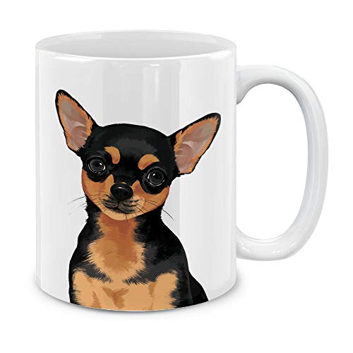 MUGBREW Cute Black Tan Chihuahua Full Portrait Ceramic Coffee Gift Mug Tea Cup, 11 OZ