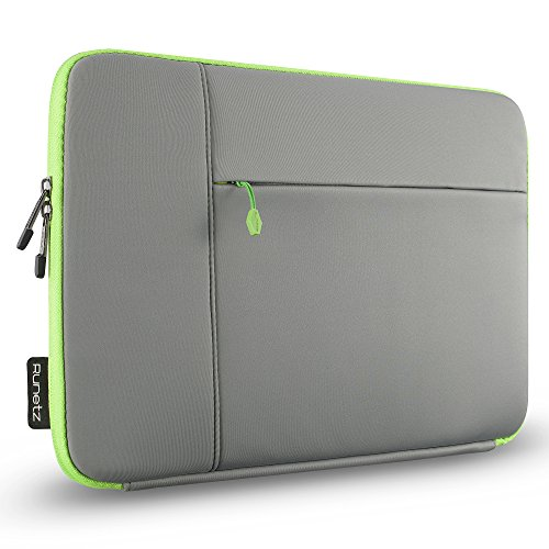 Runetz MacBook Pro 15 inch Sleeve Neoprene Case 2018 2017 2016 2015 Cover with Accessory Pocket, 15 inch Laptop Sleeve - Grey-Green