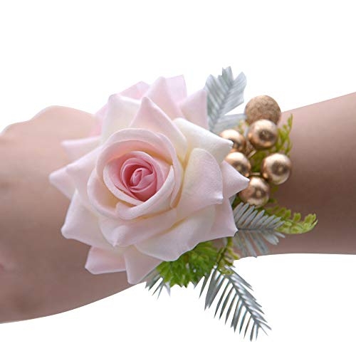 Abbie Home Classic Wrist Corsage Boutonnière for Prom Party Wedding Ball Event Blooming Rose Flower with Green Leaves and Golden Beads Décor (Corsage, Pink)