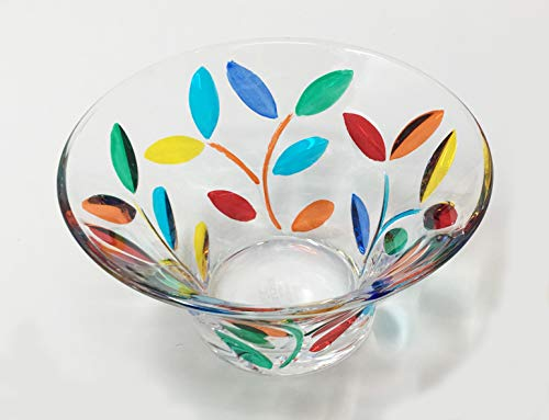 Murano Glass Tree Of Life Candy Bowl, Authentic Hand Painted Italian Glass - Painted Glass Vase