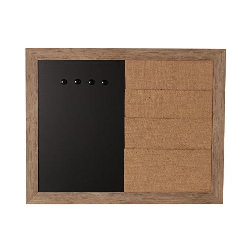 DesignOvation 209365 Beatrice Framed Combination Magnetic Chalkboard and Burlap Pockets