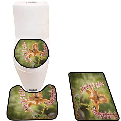 Toilet mat 3 Pieces Microfiber Soft red Squirrel st Between Lupine Flowers sprea Legs Non Slip Bathroom -  Youdeem-tablecloth