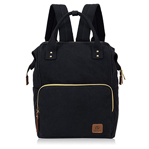 (Veegul Stylish Doctor Style Multipurpose Travel Backpack Everyday Backpack for Men Women Single Pocket Black)