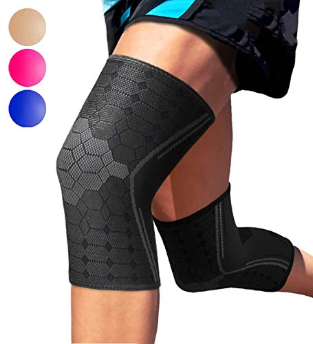 Sparthos Knee Compression Sleeves by (Pair) - Support for Sports, Running, Joint Pain Relief - Knee Brace for Men and Women Walking Cycling Football Tennis Basketball Hiking Workout Jogging (Black-L)