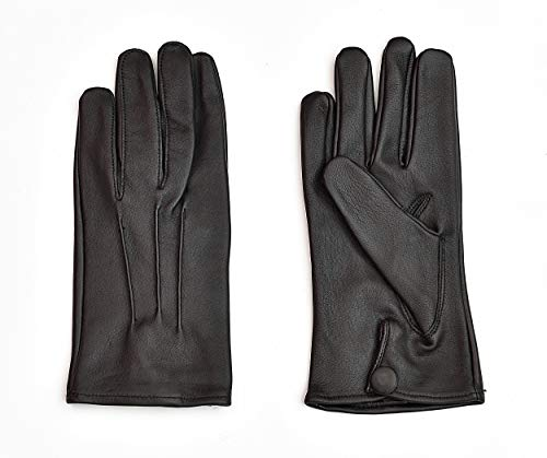 Men's Dress Leather Gloves (Large, Black)