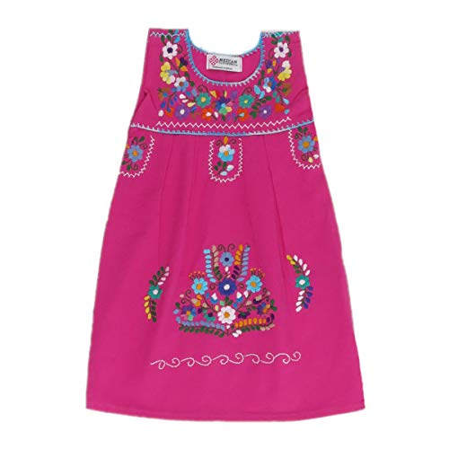 Mexican Clothing Co Baby Girls Mexican Dress Sleeveless Tehuacan Poplin 12M Pink 9733