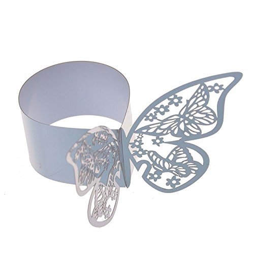 Set of 50 Butterfly laser cut paper napkin Rings Holders Party Wedding Favors for bodas Table Decoration (Silver)