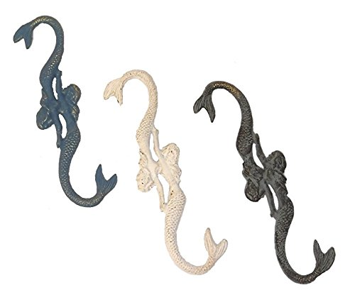 WeeZ Industries Set of 3 Nautical Themed Cast Iron Plant Hooks (Mermaid) (Pergola Iron Cast)
