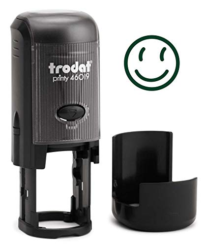 Round Teacher Stamp, Primary School, 3/4'' Self-Inking Rubber Stamp - Happy FACE - Green Ink by Infusion