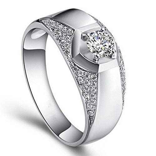 - Tomikko 1.5ct Engagement CZ Jewelry Band Mens 925 Silver Fashion Wedding Ring Size 8-13 | Model RNG - 25668 | 8