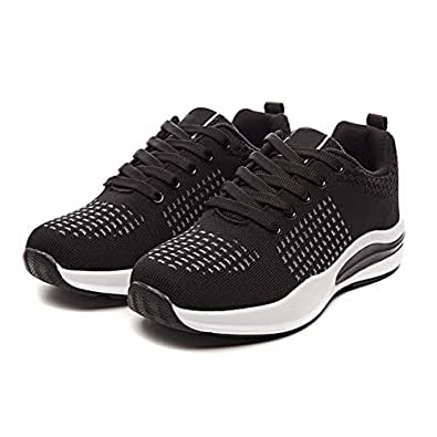 AUCDK Women Sneakers Breathable Athletic Trainers Lightweight Running Shoes Summer Anti Slip Low Top Sport Shoes Black