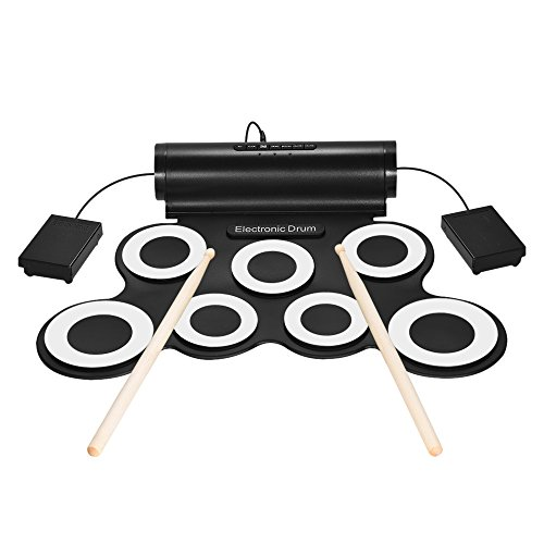 Walmeck Electric Drum Portable Digital Stereo Electronic Drum Set 7 Silicon Pads USB Powered Built-in Speaker with Drumsticks Foot Pedals 3.5mm Audio Cable for Practice Beginners Kids by Walmeck
