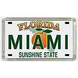 """Miami Florida License Plate Acrylic Small Fridge Collector's Souvenir Magnet 2"""" X 1.25"""""""