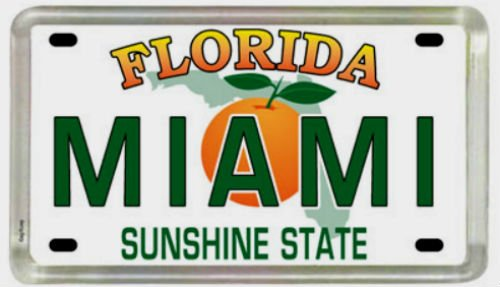 Miami Florida License Plate Acrylic Small Fridge Collector's Souvenir Magnet 2