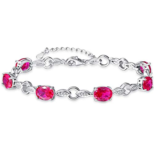 (BONLAVIE Created Red Ruby White Cubic Zirconia 925 Solid Sterling Silver Willow Link Chain Bracelet for)