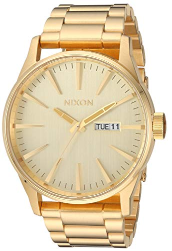NIXON Sentry SS A377 - All Gold - 121M Water Resistant Men's Analog Classic Watch (42mm Watch Face, 23mm-20mm Stainless Steel Band)