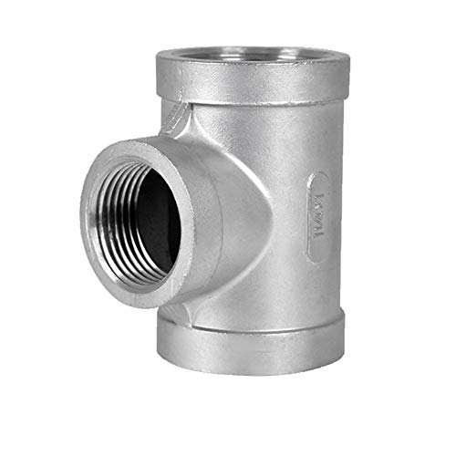 - GNSN Equal Tee Coupling T Adapter SS 304 NPT Female Thread 3 Way Pipe Fitting (1-1/4'')