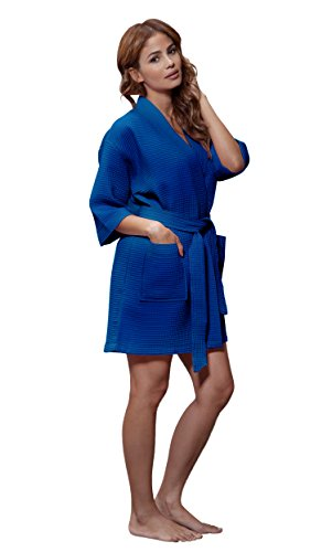 Turquaz Linen Lightweight Knee Length Waffle Kimono Bridesmaids Spa Robe (Large, Lapis Blue)