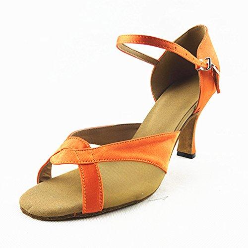 Modern de Baile Zapatos Cuero de Naranja de Onecolor Tira Zapatos Jazz Latino Verano de Zapatos Sandalias Baile Adultos BYLE de Tobillo Latino Zapatos de Baile Samba qwI6cx