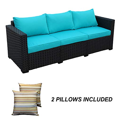 3-Seat Patio Wicker Sofa - Outdoor Rattan Couch Furniture w/Steel Frame and Turquoise Cushion