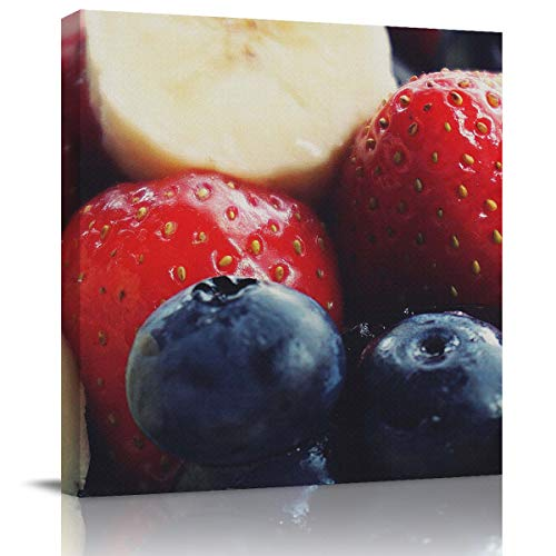 (BMALL Art Oil Painting Strawberry Blueberry Fruit Close-up Art Hand Painted on Canvas Ready to Hang for Home Wall Decor 16x16 inch)