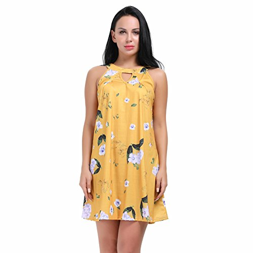 HUHHRRY Women's Short Dress Halter Neck Keyhole Floral Bird Print Casual Summer Dresses Yellow Large