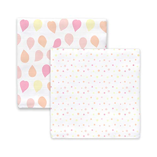 - Amazing Baby Silky Swaddle Muslin Blankets, Set of 2, Bamboo Viscose, Petals and Dots, Pink