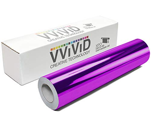 VViViD Chrome Purple Gloss DECO65 Permanent Adhesive Craft Vinyl Roll for Cricut, Silhouette & Cameo (20ft x 1ft Roll) (Die Purple Mirror)