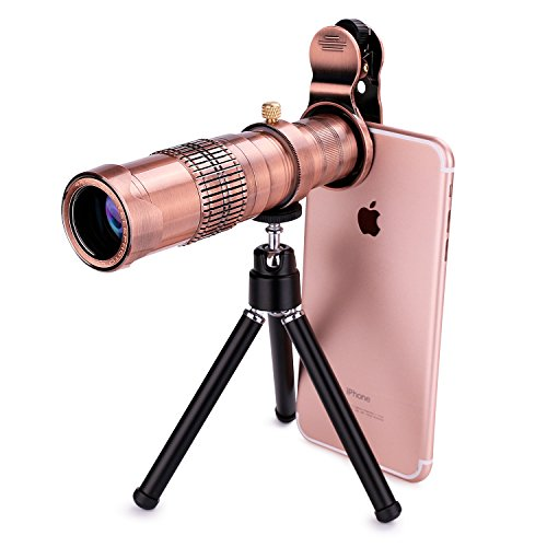 22X Dual Zoom HD Cell Phone Telephoto Lens, Wide View Metal Clip On Universal Cell Phone Lens Adapters with Tripod for Games Camping Travelling by GODEFA
