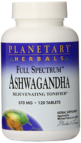 Planetary Herbals Full Spectrum Ashwagandha (Winter Cherry) 570 mg Tablets' 120 tablets (Pack of (Spectrum Planetary Formulas 120 Tabs)