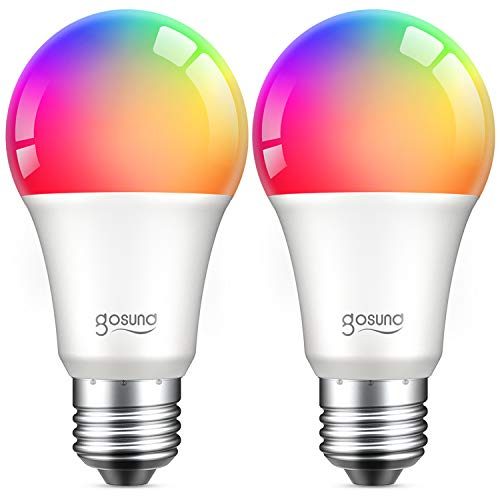 Alexa Smart Light Bulbs, Gosund 75W Equivalent E26 8W WiFi Led Bulb A19 RGB Color Changing Light Bulb Dimmable, Work with Google Home Amazon Echo, 2.4Ghz WiFi Only, No Hub Required 2 Pack