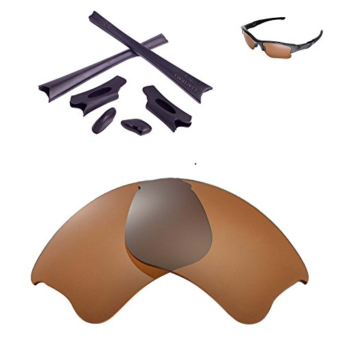 Walleva Replacement Lenses Or Lenses/Rubber Kit for Oakley Flak Jacket XLJ Sunglasses - 26 Options (Brown Polarized Lenses + Black Rubber) (Replacement Lens Kit)