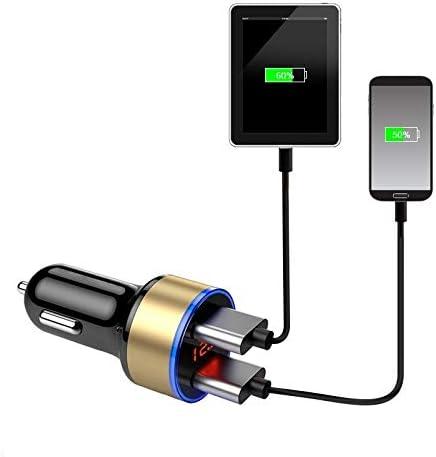 充電器2ポート3.1AデュアルUSB充電器液晶ディスプレイ12-24Vシガーソケットライター高速車の充電器の電源アダプタカースタイリング Charger (Color : Black)