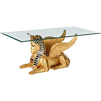 Prime Design Toscano Egyptian Sphinx Glass Topped Sculptural Table In Faux Gold And Egyptian Palette Andrewgaddart Wooden Chair Designs For Living Room Andrewgaddartcom
