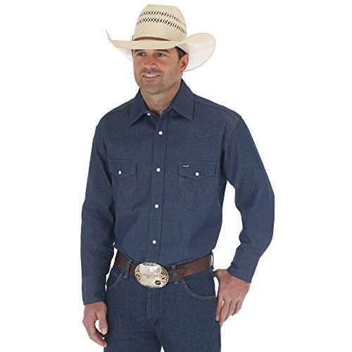 (Wrangler Men's Authentic Cowboy Cut Work Western Long Sleeve Shirt,Blue,17 1/2 35)