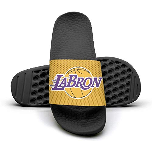 ADIDII Mens Printed Non-Slip Slippers Slide flip Flop Sandals La_Bron_Yellow_Logo_Basketball Summer Comfortable