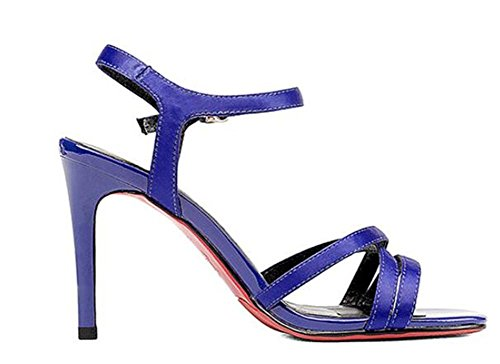 YEEY Summer Stiletto Open Toe Ankle Strap Sandalias de tacón alto para las mujeres Seda superior zapatillas de tendón Elegante Ladies Shoes Blue