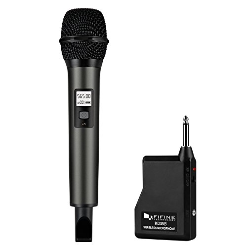 Mic Receiver (Fifine Wireless Microphone System with Portable Receiver 1/4'' Output, Selectable UHF Channels. Perfect for Church, Wedding, Karaoke (K035B))