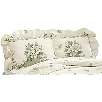 Amazon Magnolia Garden Floral Ruffle Pillow Sham Sage Home Amp Kitchen