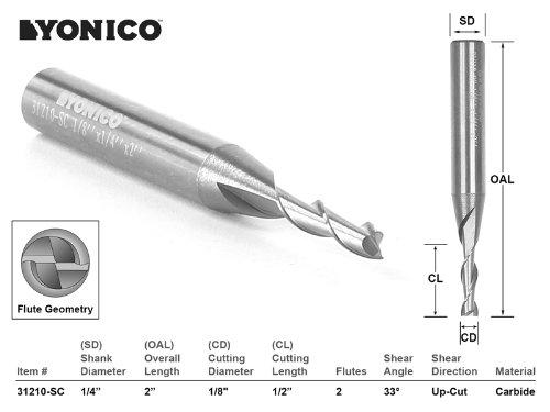 Yonico 31210-SC 1 1 CNC Router Bit Up Cut Solid Carbide 1/8-Inch X 1/2-Inch X 1/4-Inch X 2-Inch 1/4-Inch Shank