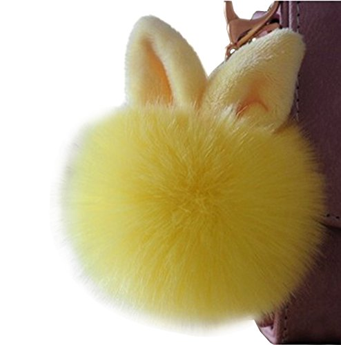 FTSOP Artificial Rabbit Fur Ball Keychain Ear Pom Key Chain Bag Charm Pendant Yellow ()