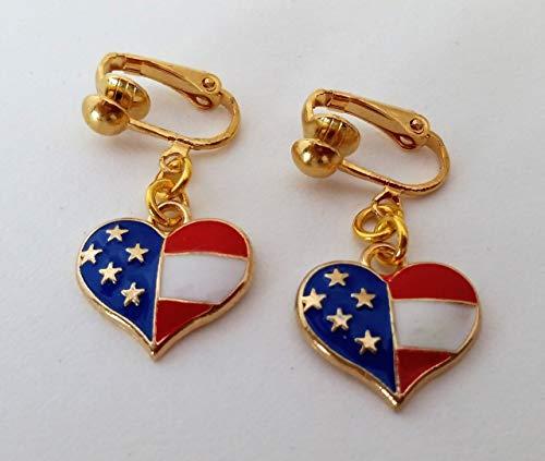 Handmade Patriotic Heart Flag Clip-On Earrings Gold Tone