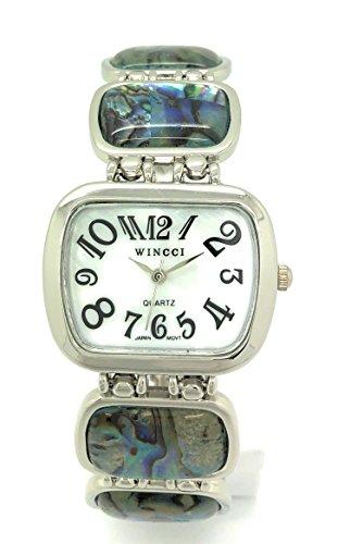 Ladies Stones Metal Link Bracelet Fashion Watch Pearl Dial Wincci (Abalone)