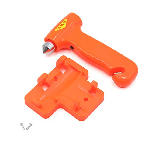 uxcell Orange 3 White LED Metal Tip Emergency Safety Hammer Seatbelt Cutter for Car by uxcell (Image #1)