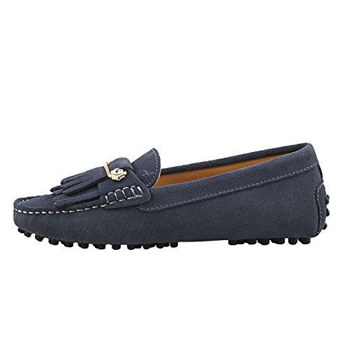 Shenduo Zapatos Primavera - Mocasines de cuero con suela goma cómodos para mujer D7066 Gris